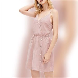 Pink Dress Button Up Strap Light Corduroy Medium